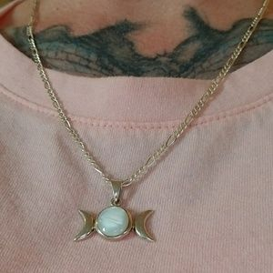 Jewelry - Sterling Silver Moonstone Triple Moon Necklace